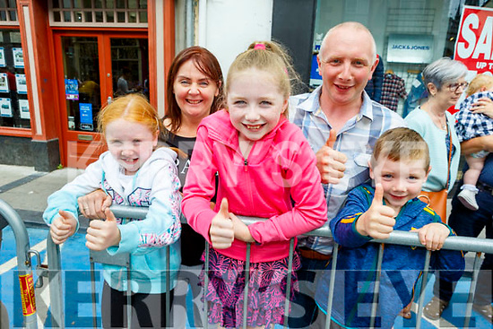 The Riordan family from Kilgarvan enjoying the Rose parade on Sunday<br /> Front l to r: Ella, Ciara and Jamie Riordan.<br /> Back Pauline and James Riordan.
