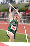 Photograph from the WIAA State Championships at Eastern Washington University in Cheney, Washington, during the 2010 Mt. Rainier Lutheran High School track and field season (pole vault photo sequence, 3 of 14).