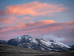 Morning in late winter, pink sky, snow on the southern Santa Rosa Range, Nevada