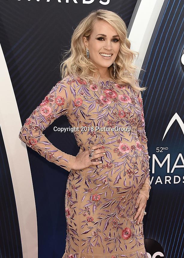 NASHVILLE, TN - NOVEMBER 14:  Carrie Underwood at the 52nd Annual CMA Awards at the Bridgetone Arena on November 14, 2018 iin Nashville, Tennessee. (Photo by Scott Kirkland/PictureGroup)