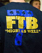 "T-shirt theme: FTB (For the Boys) ""Might as Well"" along with the mysterious 7. - The University of Notre Dame Fighting Irish defeated the University of New Hampshire Wildcats 2-1 in the NCAA Northeast Regional Final on Sunday, March 27, 2011, at Verizon Wireless Arena in Manchester, New Hampshire."