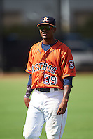 GCL Astros Wilson Amador (39) during warmups before the first game of a doubleheader against the GCL Mets on August 5, 2016 at Osceola County Stadium Complex in Kissimmee, Florida.  GCL Astros defeated the GCL Mets 4-1 in the continuation of a game started on July 21st and postponed due to inclement weather.  (Mike Janes/Four Seam Images)