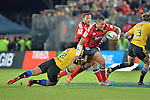 NELSON, NEW ZEALAND - MAY 29:  Robbie Fruean of the Crusaders is tackled by Maá Nonu in round 16 Super Rugby match between the Crusaders and the Hurricanes at Trafalgar Park on May 29, 2015 in Nelson, New Zealand.. (Photo Barry Whitnall/Shuttersport Limited