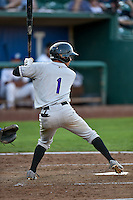 Manuel Melendez (1) of the Grand Junction Rockies at bat against the Ogden Raptors in Pioneer League action at Lindquist Field on August 24, 2016 in Ogden, Utah. The Raptors defeated the Rockies 11-10. (Stephen Smith/Four Seam Images)