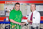 ROAD TO A MILLION: Joseph Wall, Cloghers who came second in Boyle Sports Road to a Million competition receiving his 10,000 euros cheque from Michael Slattery (manager) at Boyle Sports, Edward Street, Tralee on Friday.