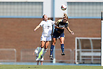 15 September 2013: Notre Dame's Sammy Scofield (right) and North Carolina's Kealia Ohai (7) challenge for a header. The University of North Carolina Tar Heels hosted the University of Notre Dame Fighting Irish at Fetzer Field in Chapel Hill, NC in a 2013 NCAA Division I Women's Soccer match. Notre Dame won the game 1-0.