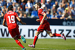 Sevilla FC's Pablo Sarabia (r) and Paulo Henrique Ganso celebrate goal during La Liga match. October 15,2016. (ALTERPHOTOS/Acero)