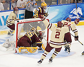 Barry Almeida (BC - 9), Kent Patterson (Minnesota - 35), Steven Whitney (BC - 21), Nate Schmidt (Minnesota - 29), Brian Dumoulin (BC - 2), Bill Arnold (BC - 24) - The Boston College Eagles defeated the University of Minnesota Golden Gophers 6-1 in their 2012 Frozen Four semi-final on Thursday, April 5, 2012, at the Tampa Bay Times Forum in Tampa, Florida.