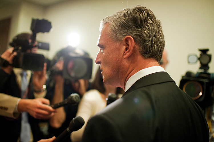 UNITED STATES - SEPTEMBER 14:  Rep. Rob Andrews, D-N.J.,  arrives for a meeting of the House Democratic Caucus in the Capitol Visitor Center.  Many reporters asked members about the special election in New York in which republican Bob Turner prevailed.  (Photo By Tom Williams/Roll Call)