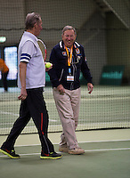 Hilversum, The Netherlands, 05.03.2014. NOVK ,Nat.Indoor Veterans Championships of 2014, Gerard Scholtes (NED) joking  with chief umpire Eric Savalle<br /> Photo:Tennisimages/Henk Koster