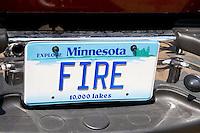 Fire license plate on fire engine. Aquatennial Beach Bash Minneapolis Minnesota USA