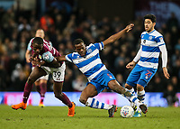 Queens Park Rangers' Nedum Onuoha under pressure from Aston Villa's Keinan Davis as Queens Park Rangers' Massimo Luongo  looks on<br /> <br /> Photographer Andrew Kearns/CameraSport<br /> <br /> The EFL Sky Bet Championship -  Aston Villa v Queens Park Rangers - Tuesday 13th March 2018 - Villa Park - Birmingham<br /> <br /> World Copyright &copy; 2018 CameraSport. All rights reserved. 43 Linden Ave. Countesthorpe. Leicester. England. LE8 5PG - Tel: +44 (0) 116 277 4147 - admin@camerasport.com - www.camerasport.com