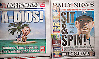 Headlines of New York tabloid newspapers are seen on Sunday, January 12, 2014 reporting on Major League Baseball's reduction of the suspension of NY Yankee Alex Rodriguez for 162 games because of his use of performance enhancing drugs. The  athlete's suspension was reduced from 211 to 162 games  on appeal. Rodriguez' lawyers are seeking an injunction against the ban which is the longest given to any player for the use of illegal performance enhancing drugs. (© Richard B. Levine)