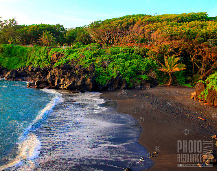 Black Sand Beach at Wainapanapa State Park near Hana, Maui, Hawaii.