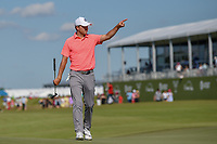 Jordan Spieth (USA) acknowledges the roar of the hometown crowd near the green on 18 during round 4 of the AT&T Byron Nelson, Trinity Forest Golf Club, Dallas, Texas, USA. 5/12/2019.<br /> Picture: Golffile   Ken Murray<br /> <br /> <br /> All photo usage must carry mandatory copyright credit (© Golffile   Ken Murray)