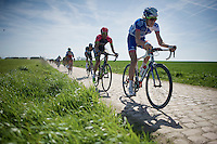 Yoann Offredo (FRA/FDJ.fr) flying over the cobbles of sector 26: Viesly &agrave; Qui&eacute;vy (1.8km)<br /> <br /> 113th Paris-Roubaix 2015