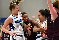 NWA Democrat-Gazette/CHARLIE KAIJO Siloam Springs High School Jael Harried (30) looks to steal the ball from Rogers High School forward Caroline Larkin (12), during the Great 8 Tournament, Thursday, November 29, 2018 at King Arena at Rogers High School in Rogers.