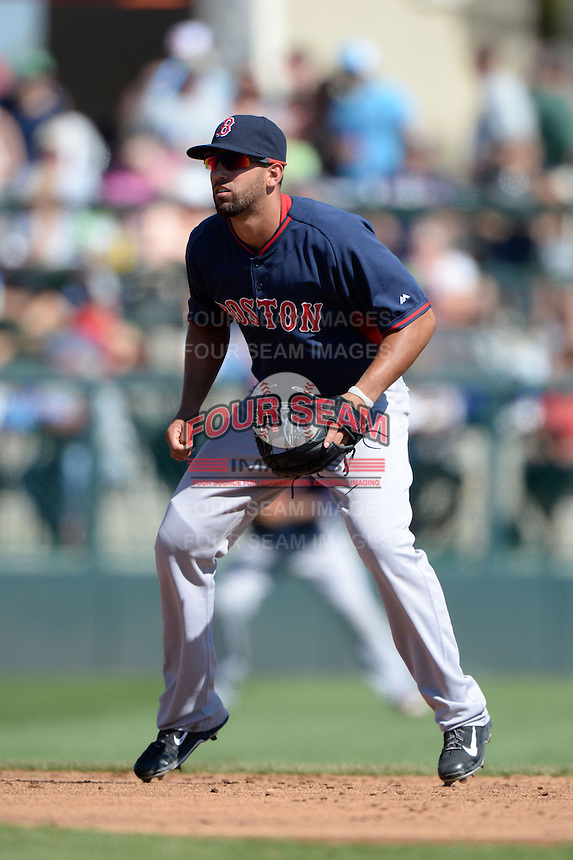 Boston Red Sox shortstop Deven Marrero (74) during a spring training game against the Baltimore Orioles on March 8, 2014 at Ed Smith Stadium in Sarasota, Florida.  Baltimore defeated Boston 7-3.  (Mike Janes/Four Seam Images)