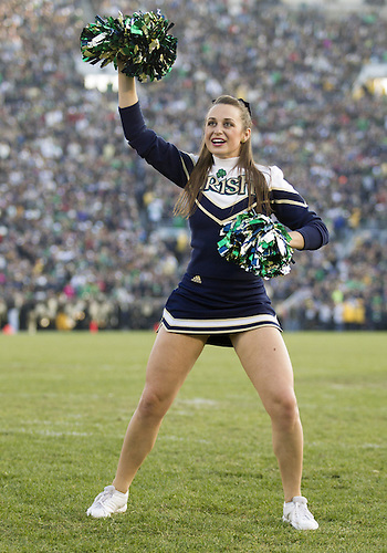 November 17, 2012:  Notre Dame cheerleader Allie Rzepczynski during NCAA Football game action between the Notre Dame Fighting Irish and the Wake Forest Demon Deacons at Notre Dame Stadium in South Bend, Indiana.  Notre Dame defeated Wake Forest 38-0.