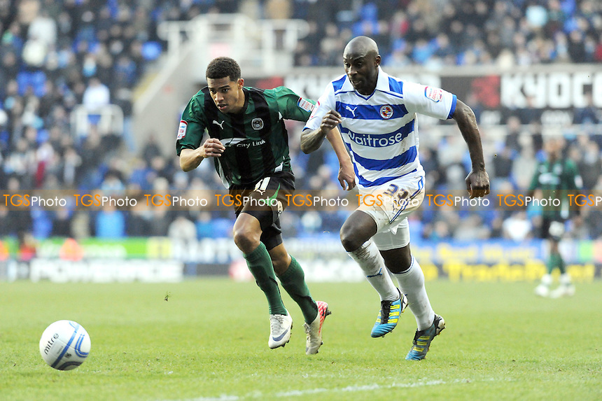 Gary McSheffrey of Coventry and Jason Roberts of Reading chase the ball down the wing - Reading vs Coventry City - nPower League Championship Football at the Madejski Stadium - 11/02/12 - MANDATORY CREDIT: Anne-Marie Sanderson/TGSPHOTO - Self billing applies where appropriate - 0845 094 6026 - contact@tgsphoto.co.uk - NO UNPAID USE.