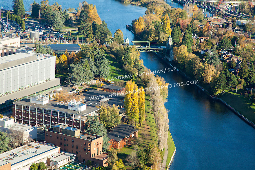 Aerial photo of University of Washington and Montlake Cut of Lake Washington