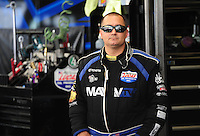Jun. 3, 2012; Englishtown, NJ, USA: NHRA top fuel dragster driver Brandon Bernstein during the Supernationals at Raceway Park. Mandatory Credit: Mark J. Rebilas-