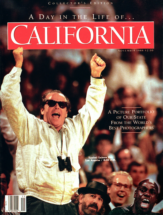 This California Magazine cover promotes images from the Day in the Life of California book.  My cover photo captures Jack Nicholson cheering for the Los Angeles Lakers at the first timeout in the first playoff game that year. Nearly 100 photographers from around the world were invited to work that day for the book. The game had not been assigned for the book but since I was doing my regular assignment at the game for the Los Angeles Times I was in place for this moment after I had met the paper's deadline.