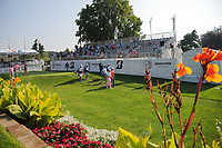 Adam Scott (AUS), Justin Thomas (USA), Jon Rahm (ESP) on the 1st tee during the first round of the WGC Bridgestone Invitational, Firestone country club, Akron, Ohio, USA. 03/08/2017.<br /> Picture Ken Murray / Golffile.ie<br /> <br /> All photo usage must carry mandatory copyright credit (&copy; Golffile | Ken Murray)