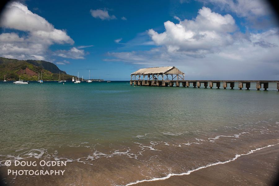 The famous Hanalei Wharf, Hanalei Bay, Kauai, Hawaii