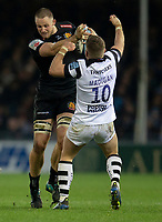 Exeter Chiefs' Jonny Hill evades the tackle of Bristol Bears' Ian Madigan<br /> <br /> Photographer Bob Bradford/CameraSport<br /> <br /> Gallagher Premiership - Exeter Chiefs v Bristol Bears - Saturday 5th January 2019 - Sandy Park - Exeter<br /> <br /> World Copyright &copy; 2019 CameraSport. All rights reserved. 43 Linden Ave. Countesthorpe. Leicester. England. LE8 5PG - Tel: +44 (0) 116 277 4147 - admin@camerasport.com - www.camerasport.com
