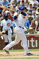 Chicago Cubs first baseman Anthony Rizzo #44 swings at a pitch during a game against the Arizona Diamondbacks at Wrigley Field on July 15, 2012 in Chicago, Illinois. The Cubs defeated the Diamondbacks 3-1. (Tony Farlow/Four Seam Images).