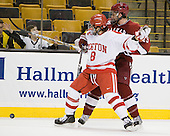 Ben Rosen (BU - 8), Alex Killorn (Harvard - 19) - The Harvard University Crimson defeated the Boston University Terriers 5-4 in the 2011 Beanpot consolation game on Monday, February 14, 2011, at TD Garden in Boston, Massachusetts.