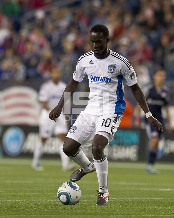 San Jose Earthquakes midfielder Simon Dawkins (10) dribbles. In a Major League Soccer (MLS) match, the San Jose Earthquakes defeated the New England Revolution, 2-1, at Gillette Stadium on October 8, 2011.