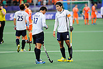 The Hague, Netherlands, June 03: Eunseong Hong #17 and Seungil Lee #8 of Korea discuss after the field hockey group match (Men - Group B) between The Netherlands and Korea on June 3, 2014 during the World Cup 2014 at Kyocera Stadium in The Hague, Netherlands. Final score 2:1 (1:1) (Photo by Dirk Markgraf / www.265-images.com) *** Local caption ***