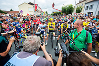 Picture by Alex Whitehead/SWpix.com - 11/07/2017 - Cycling - Le Tour de France - Stage 11, Eymet to Pau - Chris Froome of Team Sky and the rest of the riders on the start line.