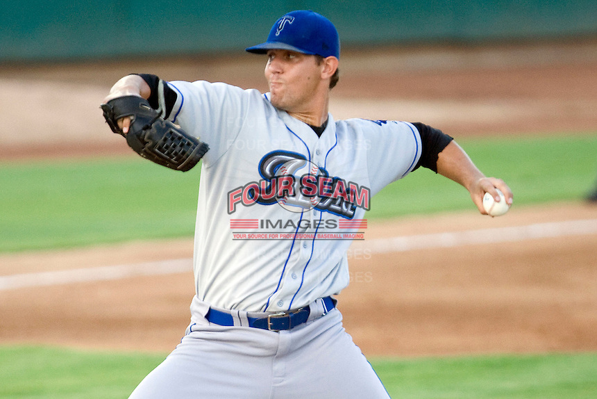 Tulsa Drillers pitcher Christian Friedrich #10 delivers a pitch at the Texas League All Star Game played on June 29, 2011 at Nelson Wolff Stadium in San Antonio, Texas. The South defeated the North 3-2 in the contest. (Andrew Woolley / Four Seam Images)
