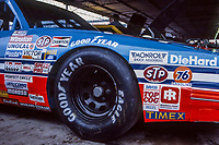 HAMPTON, GA - NOV 3:  Contingency sponsor stickers are shown on the fender of the #43 STP Pontiac of Richard Petty in the garage before the Atlanta Journal 500 NASCAR Winston Cup race at Atlanta Motor Speedway, November 3, 1985. (Photo by Brian Cleary/www.bcpix.com)
