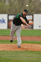Dayton Dragons pitcher Austin Orewiler (9) throws a pitch against the Burlington Bees at Community Field on May 3, 2018 in Burlington, Iowa.  (Dennis Hubbard/Four Seam Images)