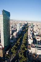 Avenida Reforma, Torre Mayor. Aerial photos of Mexico City, Mexico