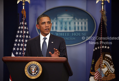 United States President Barack Obama makes a statement in the Brady Press Briefing Room of the White House on progress with congressional leadership regarding the debt ceiling, in Washington, Tuesday, July 19, 2011..Credit: Martin Simon / Pool via CNP