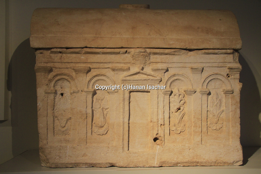 Israel, a decorated ossuary from Mount Scopus, Jerusalem, at the Israel Museum