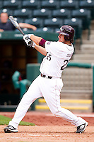 Brock Chaffin (25) of the Missouri State Bears follows through his swing during a game against the Evansville Purple Aces at Hammons Field on May 12, 2012 in Springfield, Missouri. (David Welker/Four Seam Images)