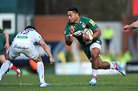 Manu Tuilagi goes on the charge. Aviva Premiership match, between Leicester Tigers and Exeter Chiefs on March 23, 2014 at Welford Road in Leicester, England. Photo by: Patrick Khachfe / JMP