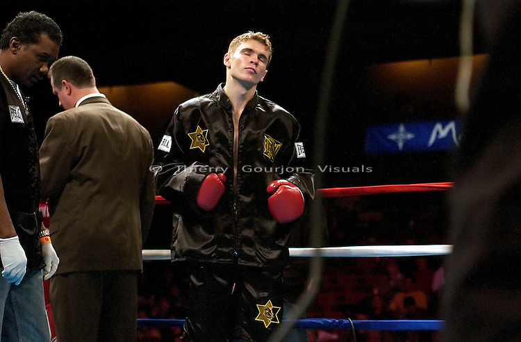 Yuri Foreman in the ring before his Junior Middleweight fight against  Andre Trunov  at the Mohegan Sun Casino in Uncasville, CT  on 01.10.03. Foreman won by Unanimous Decision..