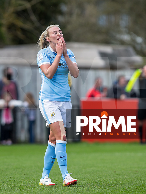 Toni Duggan of Manchester City Women reaction after going close with a headed attempt at goal during the Women's FA Cup Semi Final match between Chelsea Ladies and Manchester City Women at Wheatsheaf Park, Staines, England on 17 April 2016. Photo by Andy Rowland.