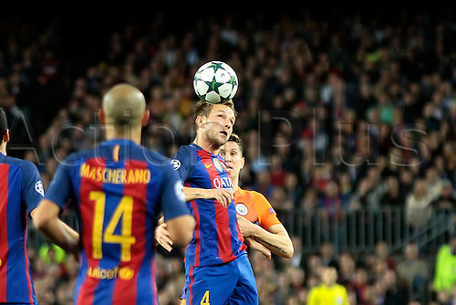 19.10.2016. Nou Camp, Barcelona, Spain. UEFA Champions League Football. Barcelona versus Manchester City. Rakitic in heading action during the match