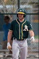Oakland Athletics second baseman Jordan Tarsovich (7) during a Minor League Spring Training game against the Chicago Cubs at Sloan Park on March 13, 2018 in Mesa, Arizona. (Zachary Lucy/Four Seam Images)