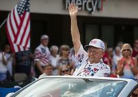 NWA Democrat-Gazette/BEN GOFF @NWABENGOFF<br /> Chuck Hurl, a U.S. Army World War II veteran from Bella Vista, stops to be introduced as the parade's grand marshall Thursday, July 4, 2019, during the Bella Vista Patriots Parade at Sugar Creek Shopping Center.