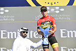 Dylan Groenewegen (NED) Team Lotto NL-Jumbo retains the Points Red Jersey at the end of Stage 3 The Silicon Oasis Stage of the Dubai Tour 2018 the Dubai Tour&rsquo;s 5th edition, running 180km from Skydive Dubai to Fujairah, Dubai, United Arab Emirates. 7th February 2018.<br /> Picture: LaPresse/Fabio Ferrari | Cyclefile<br /> <br /> <br /> All photos usage must carry mandatory copyright credit (&copy; Cyclefile | LaPresse/Fabio Ferrari)