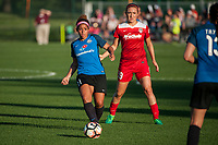 Kansas City, MO - Saturday May 27, 2017: Desiree Scott, Kristie Mewis during a regular season National Women's Soccer League (NWSL) match between FC Kansas City and the Washington Spirit at Children's Mercy Victory Field.